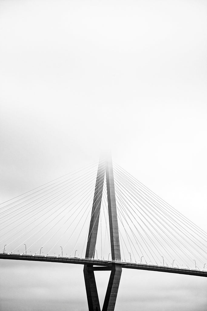 Charleston's Ravenel Bridge in Fog  - Black and White Photograph (DSC03038A)