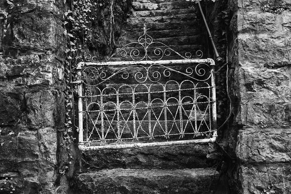 Black and white photograph of a small, white, antique gate as seen in a small town.