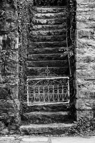 Black and white photograph of a small, white, antique gate at the bottom of steep stone steps in a small town.