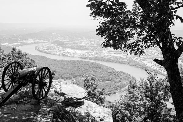 Black and white landscape photograph of Chattanooga, Tennessee as seen from a high promontory at Pointe Park on Lookout Mountain