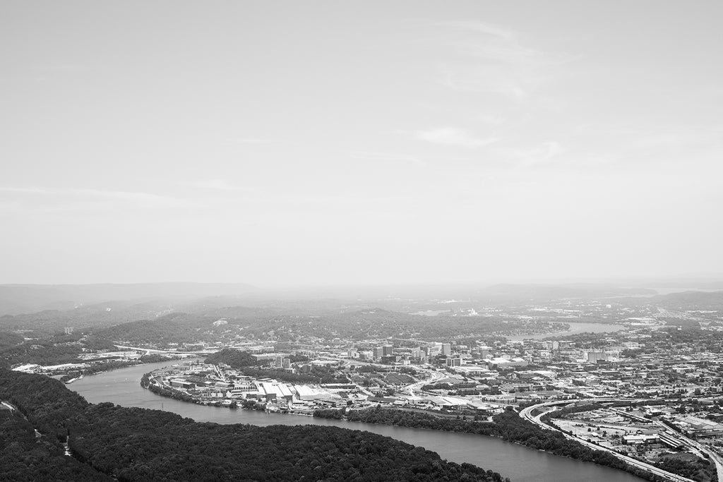 Black and white landscape photograph of Chattanooga and the Tennessee River as seen from the top of Lookout Mountain