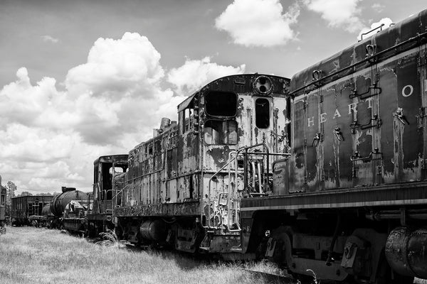 Black and white photograph of old rusty railroad cars sitting on tracks.