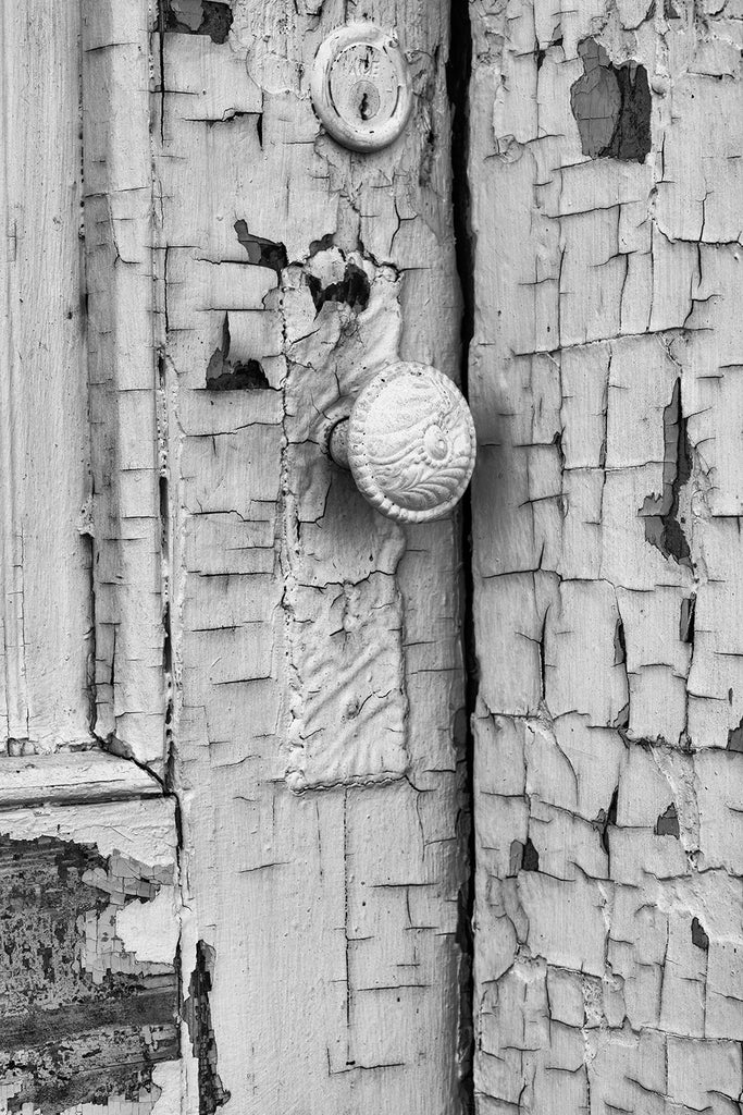Black and white photograph of a beautifully textured old door on an abandoned building covered in cracked and peeling paint.