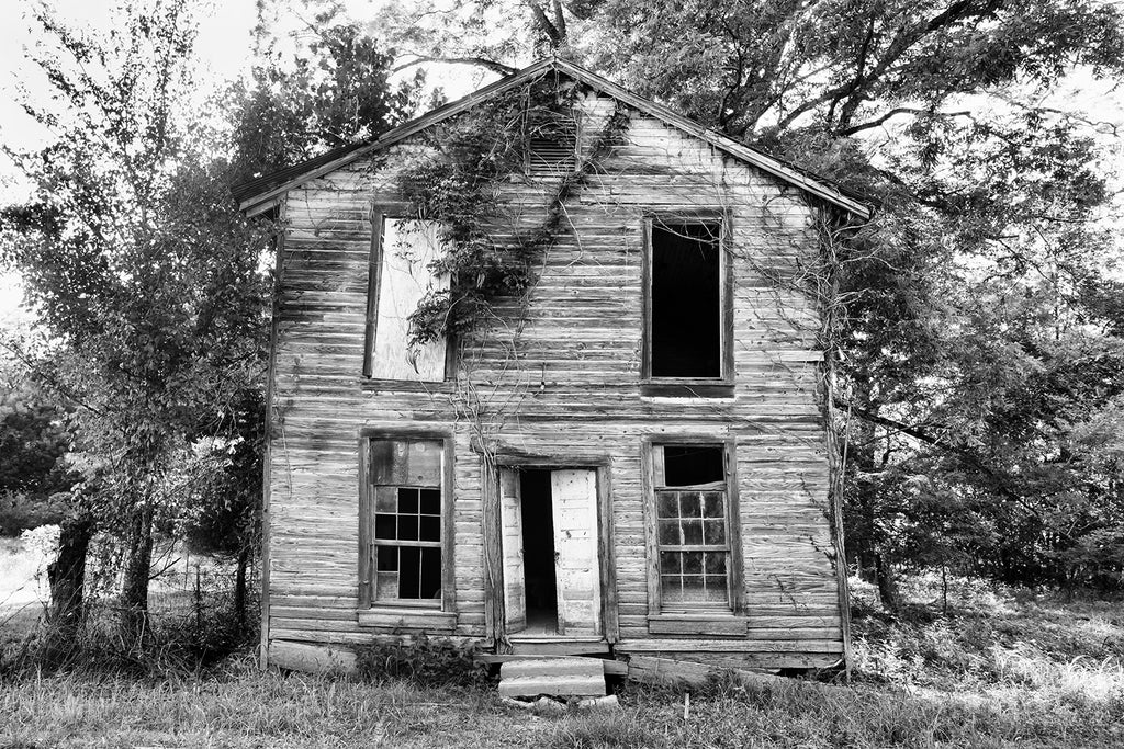 Black and white photograph of the front of a ruined house or possibly a saloon in the ghost town of Rodney, Mississippi.