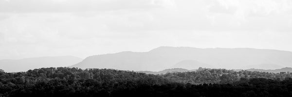 Black and white panoramic landscape photograph of the hazy, ancient mountains of the Eastern US.