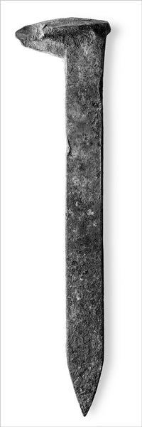 Monumental black and white detail photograph of a rusty railroad spike. The size of this ultra-wide panoramic photograph turns an ordinary object that's only seven inches long, into a vast and startling landscape up to ten feet wide. Available in one very wide print or as two half size prints for same price (see alternate photographs). Depending on space, it can be displayed vertically or horizontally.