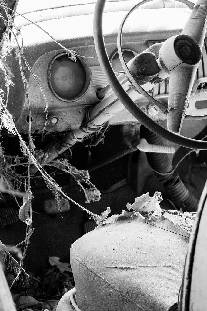 Interior View of a Junked Classic Automobile: Black and White Photograph (DSC08703)