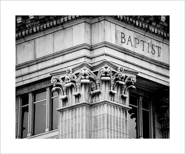 "Black and white architectural detail photograph of classically-inspired Nashville architecture.  This photograph can be seen in the Nashville Room, a private dining room at Nashville's amazing Prima Restaurant in the Gulch neighborhood. At 16"" x 20,"" this is the exact size and finish as the print at Prima -- just add your own top mat and framing.  This photograph is also available in other sizes. Go to the main Nashville gallery."
