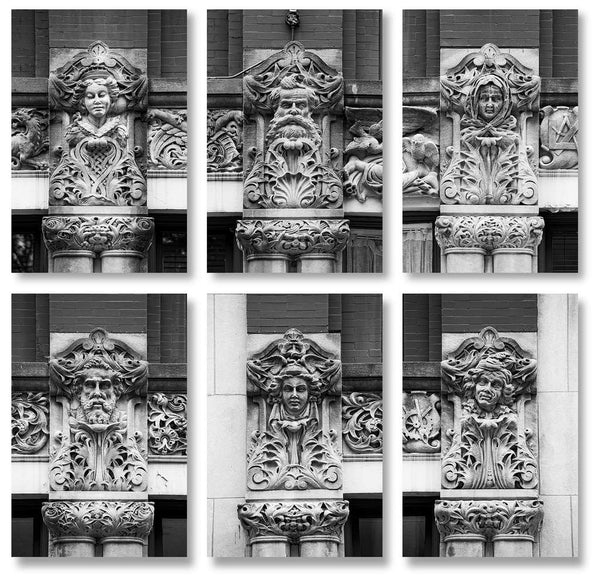 Set of six black and white photographs of the whimsical carved faces on the Drhumor Building in downtown Asheville, North Carolina.