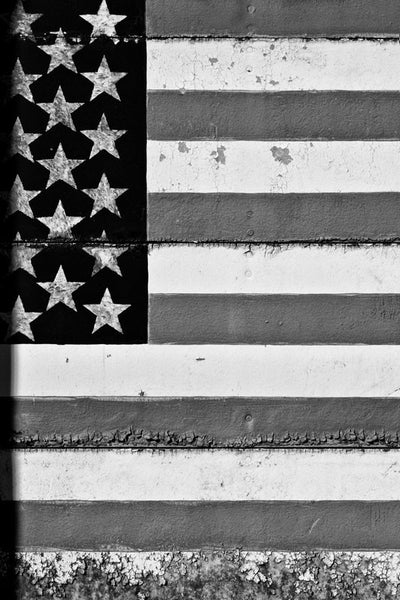 Black and white photograph of a rustic US flag painted on a factory door with seams running through it, and weathered decay along the edges.