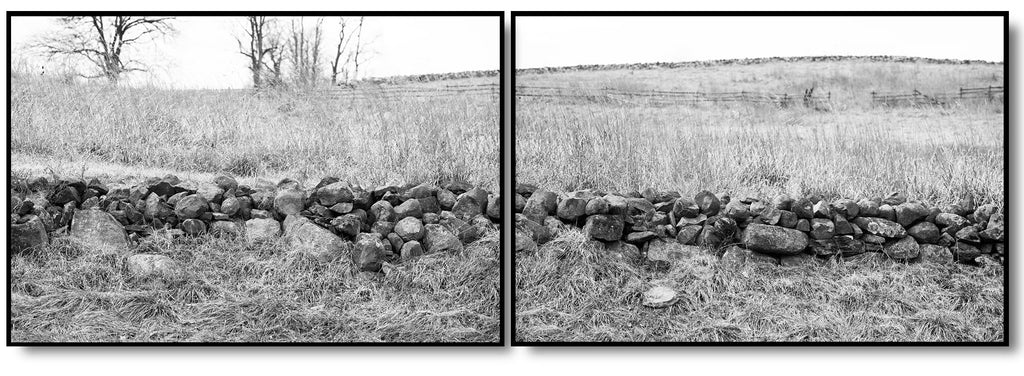 Set of two black and white fine art photographs of an old stone wall running across the beautiful winter landscape at Gettysburg, Pennsylvania. Sold as a matched pair intended to be framed and displayed side-by-side.