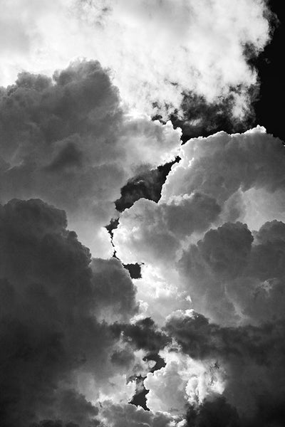 Black and white photograph of a boiling clouds in the skies over Texas. Some of the most intense thunderstorms I've ever experienced here in my home state of Texas.