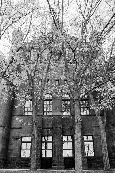 Black and white photograph of University of Wisconsin's Armory and Gymnasium, in Madison, Wisconsin.