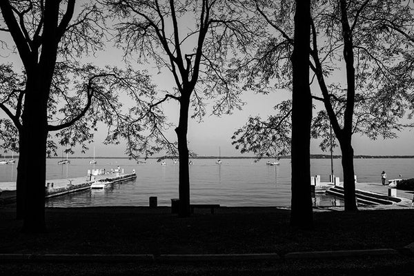 Black and white photograph of Lake Mendota as seen from University of Wisconsin's Armory and Gymnasium, in Madison, Wisconsin.