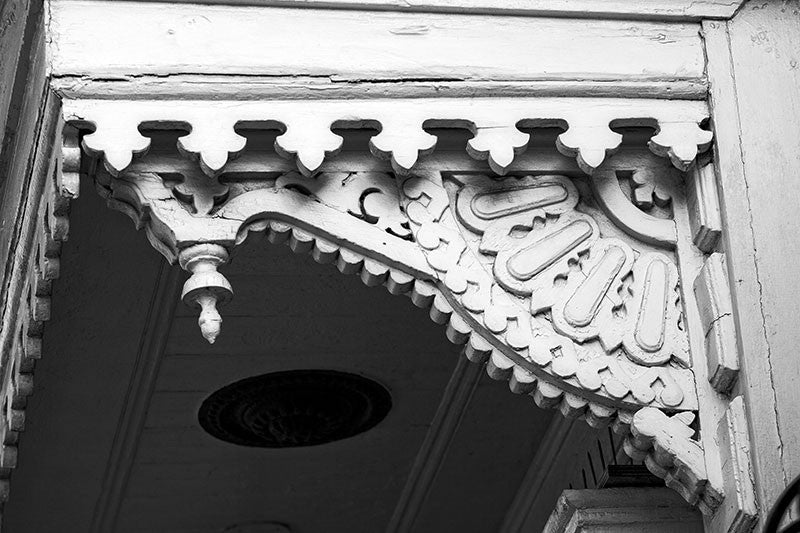 Victorian Woodwork on the Eave of a French Quarter House in New Orleans