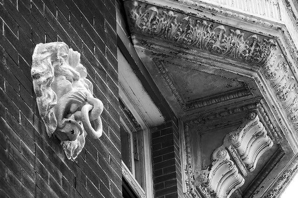 Black and white fine art photograph of architectural details along New Orleans' famous Canal Street, including a lion head with a tie-down ring in its mouth, and an ornamental pressed metal facade with peeling paint.