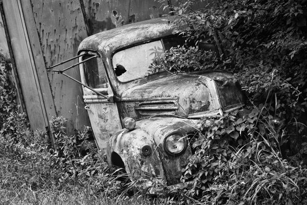 Black and white fine art photograph of an old truck that was found in the overgrown ditch on a curvy, rural backroad, where it had been abandoned years before.