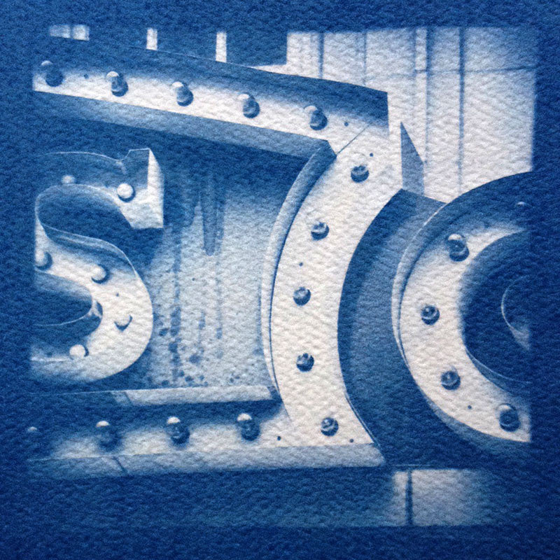 This is a unique handmade cyanotype print of the Lucas Theater Marquee in beautiful Savannah, printed on acid-free rough watercolor paper.