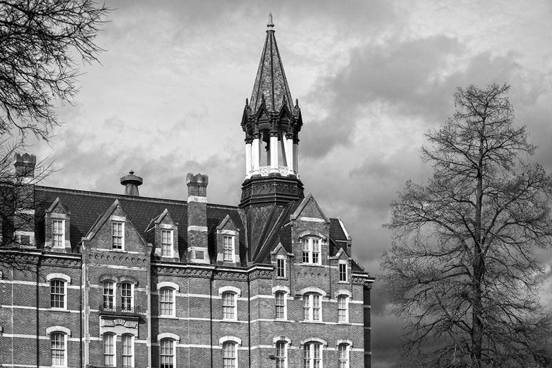 Black and white photograph of Fisk University's famous Jubilee Hall, home of the Fisk Jubilee Singers.