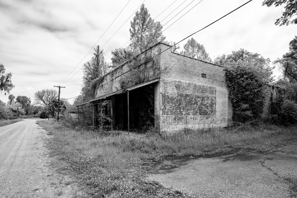 Abandoned R.C. Tibbs & Sons Building in Hushpuckena - Black and White Photograph (KD003707X)
