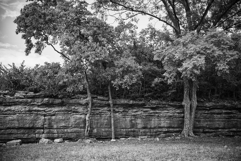 Black and white landscape photograph on the site of the old Civil War-era Fort Negley in Nashville, Tennessee.