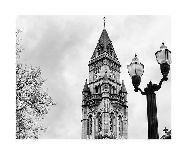 "Black and white photograph of the tower of the historic Customs House in downtown Nashville.  This photograph can be seen in the Nashville Room, a private dining room at Nashville's amazing Prima Restaurant in the Gulch neighborhood. At 16"" x 20,"" this is the exact size and finish as the print at Prima -- just add your own top mat and framing.  This photograph is also available in other sizes. Go to the main Nashville gallery."