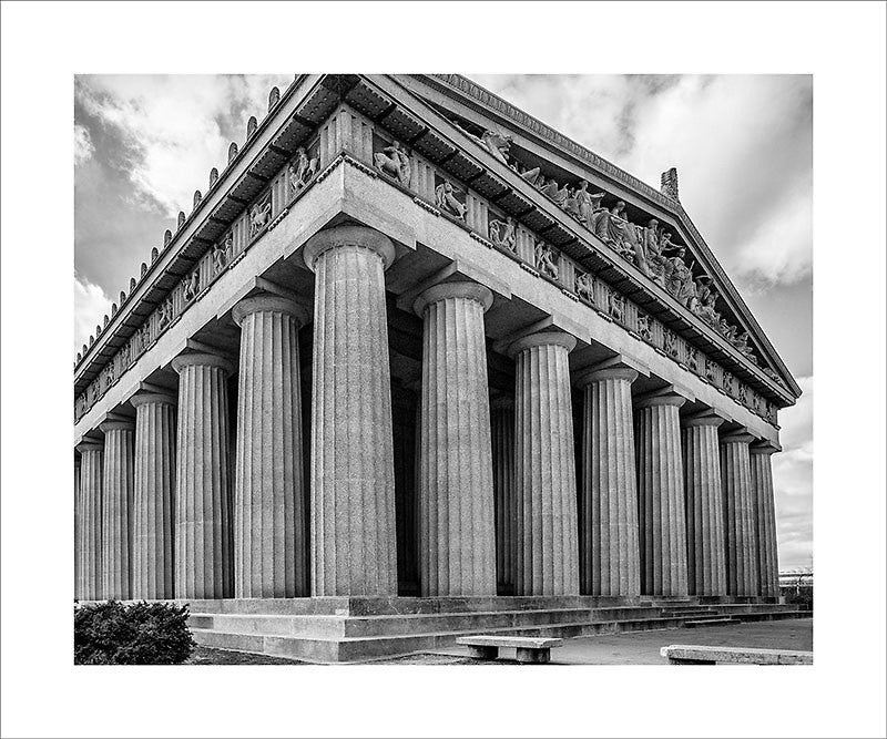"Black and white photograph of a three-quarter view of Nashville's exact replica of the Greek Parthenon in Athens.  This photograph can be seen in the Nashville Room, a private dining room at Nashville's amazing Prima Restaurant in the Gulch neighborhood. At 16"" x 20,"" this is the exact size and finish as the print at Prima -- just add your own top mat and framing."