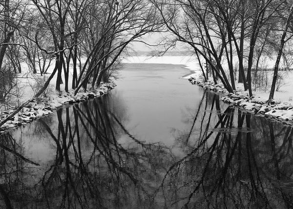 Black and white winter landscape photograph of barren trees arching over the Yahara River where it flows into Lake Monona in Madison, Wisconsin. The trees' reflection in the black river creates a beautiful round focal point in the center.