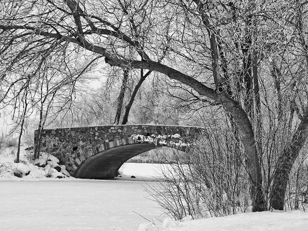 Black and white winter landscape photograph of a beautiful old stone bridge built in the 1920s, spanning a frozen pond in Madison, Wisconsin.