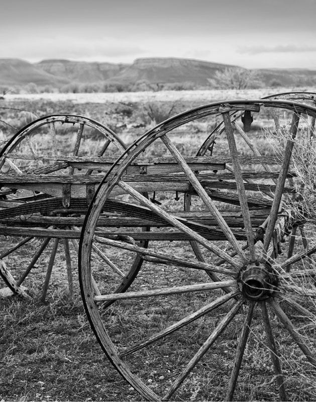 Black and white photograph focused on a weathered old wagon, abandoned in the beautiful Wyoming landscape.