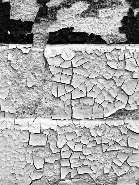 Black and white fine art photograph of a chips and flakes of paint on a brick wall in Miles City, Montana.