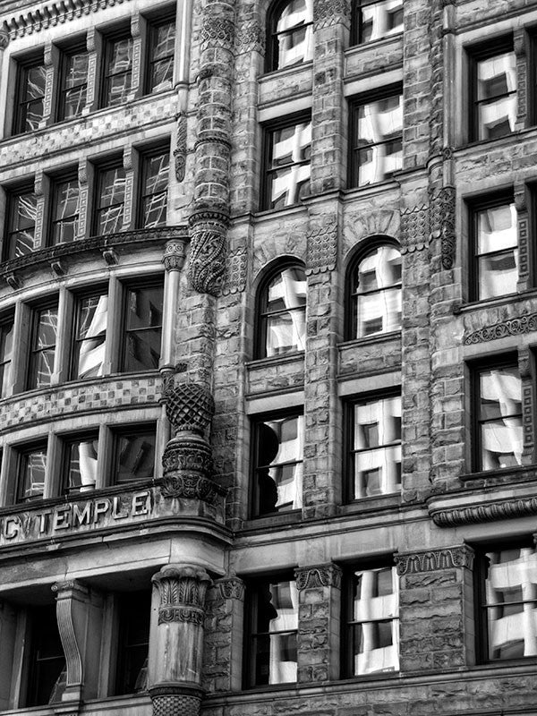 Black and white photograph of the front of the historic Masonic Temple in downtown Minneapolis.