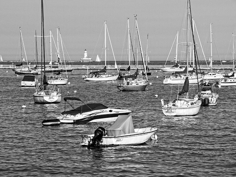 Black and white photograph of the sailboats in the harbor on the Chicago lakeshore