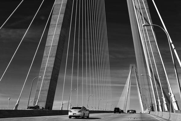 Black and white photograph of the Arthur Ravenel Jr. Bridge in Charleston, South Carolina.