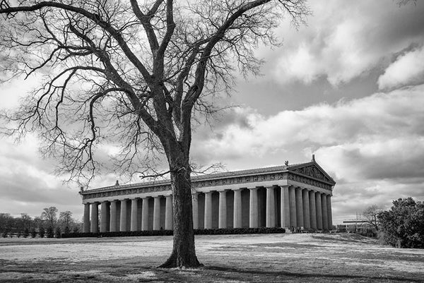 Black and white photograph of Nashville's full-sized replica of the Greek Parthenon, located in Centennial Park in the city's West End.