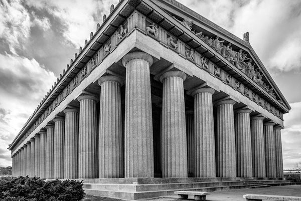 Black and white photograph of Nashville's replica of the Athenian Parthenon, located in Centennial Park in the city's West End.