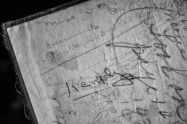 Black and white detail photograph of the pencilled notes of Iva Carter, a Greenville, Texas school girl who owned this old history textbook. A Short History of England, by Edward P. Cheyney, was published in 1904. It's unclear what year Iva used the book, and I have been unable to learn any other details of her life.