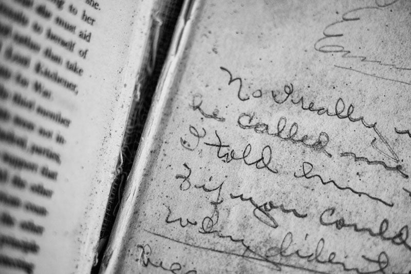 Black and white detail photograph of the pencilled handwriting of Iva Carter, a school girl from Greenville, Texas, who at some point owned this old history textbook. A Short History of England, by Edward P. Cheyney, was published in 1904. It's unclear when Iva used the book, and I have been unable to learn any other details of her life.
