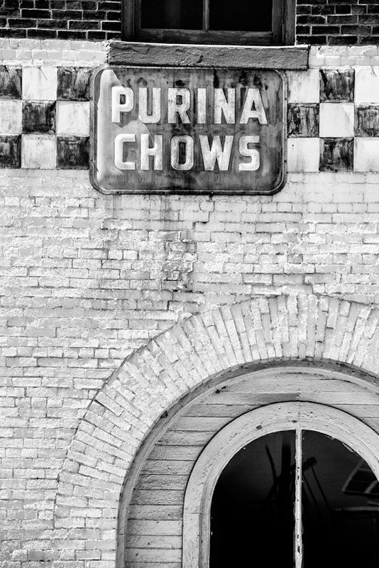 Black and white photograph of a vintage Purina Chows sign on the old Acme Feed and Seed building (before renovation) on lower Broadway in downtown Nashville.