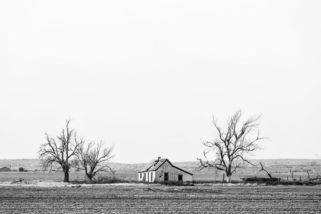 Black and white landscape photograph of the wide open Texas Panhandle with an old lonesome farmhouse and barren trees.