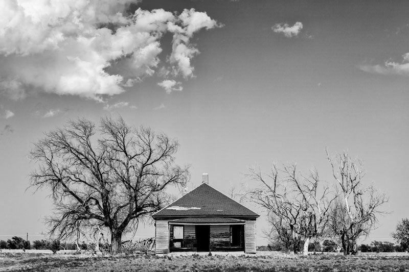 Black and white photograph of a dilapidated and abandoned farmhouse, surrounded by barren trees, on the wide expanse of the Texas Panhandle.