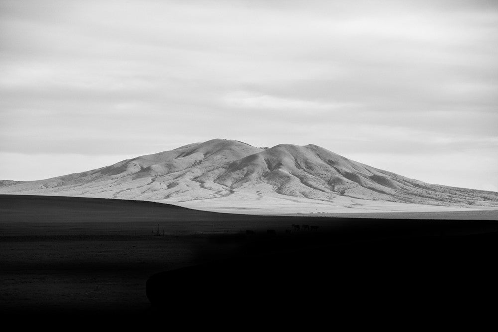 New Mexico White Mountain Black Shadows, black and white landscape photograph by Keith Dotson