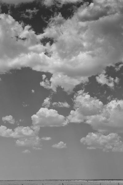 Black and white landscape photograph of clouds in the big sky near Amarillo in the Texas Panhandle.