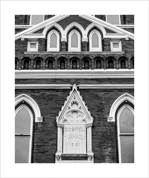 "Black and white photograph historic Ryman Auditorium in downtown Nashville, known as the ""mother church of country music,"" because it started out as the Union Gospel Tabernacle in 1891.  This photograph can be seen in the Nashville Room, a private dining room at Nashville's amazing Prima Restaurant in the Gulch neighborhood. At 16"" x 20,"" this is the exact size and finish as the print at Prima -- just add your own top mat and framing."