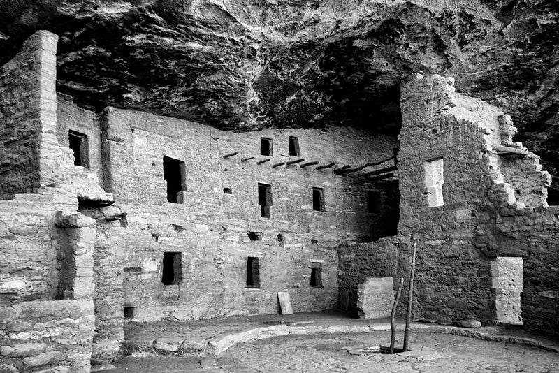 Black and white fine art photograph of the ancient Spruce Tree House dwellings at Mesa Verde, Colorado.