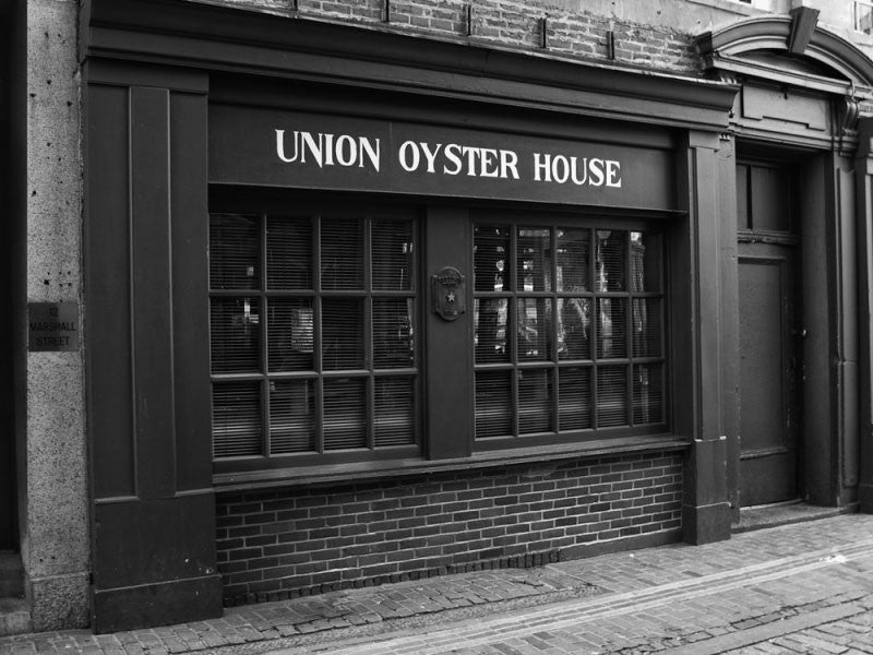 Black and white photograph of Union Oyster House in downtown Boston, in operation since 1826, making it one of the oldest restaurants in the US.