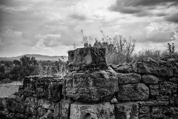 Black and white photograph of the view from the old stone ruins of Fort Negley on a hillside near Nashville. Fort Negley is a star-shaped structure built of limestone blocks on a hilltop south of the city, and was the largest inland fort built during the American Civil War. The fort was built by the Union army in 1862 as a defensive post after the Confederates lost control of Nashville in successive battles, but with fighting concentrated in other areas, the fort never saw action.