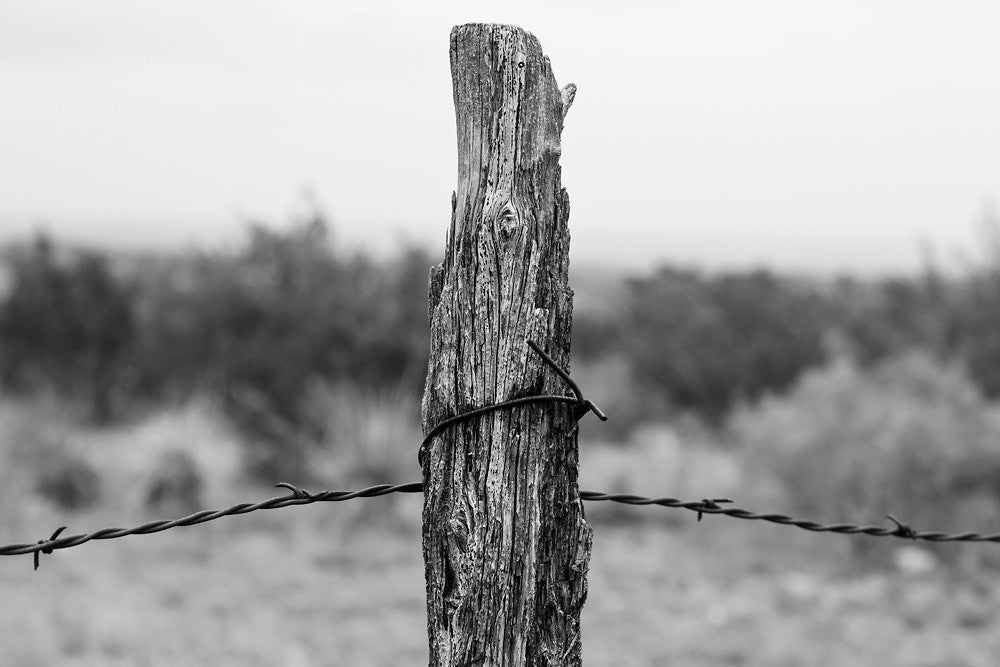 Black and white photograph of a weathered wooden fence post holding a rusty strand of barbed wire in the Texas Panhandle landscape.