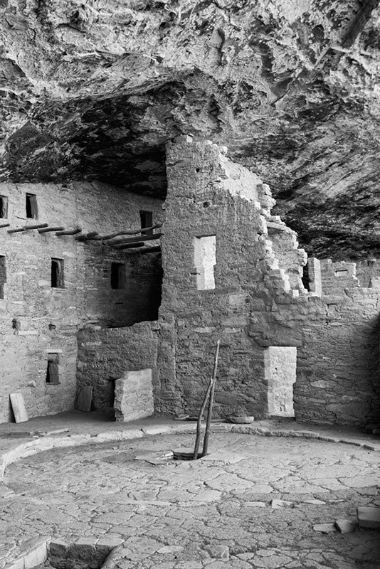 Black and white fine art photograph of the ancient Native American dwellings at Mesa Verde in Colorado, where ancestral Puebloans lived and worked 800 years ago.
