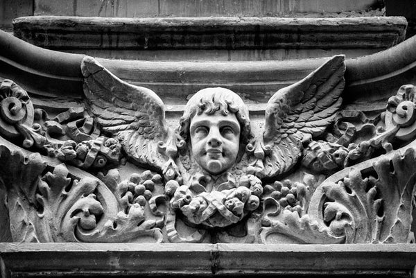 Black and white fine art photograph of a winged cherub architectural detail found on a building in downtown Memphis, Tennessee.